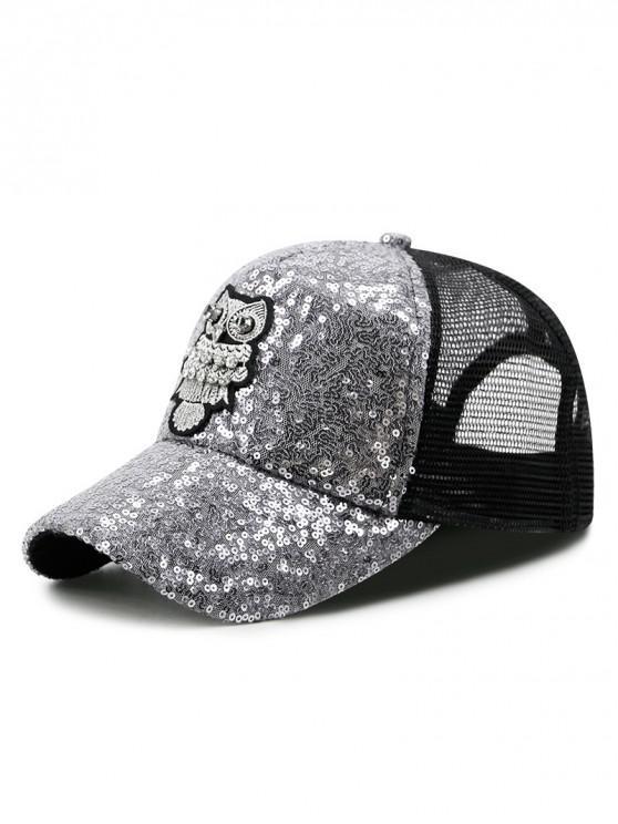 1265c956 19% OFF] 2019 Owl Pattern Sequin Trucker Hat In SILVER   ZAFUL