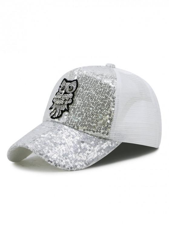 249d7d0a 22% OFF] [NEW] 2019 Owl Pattern Sequin Trucker Hat In WHITE   ZAFUL