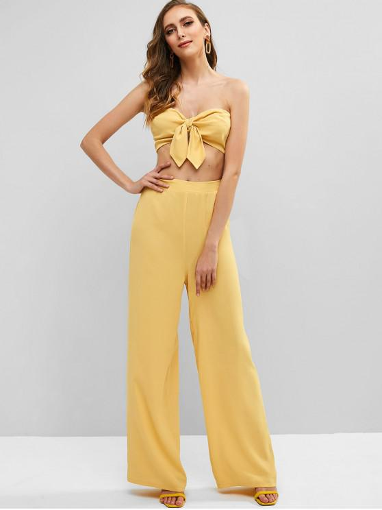 sale ZAFUL Knotted Bandeau Top and Palazzo Pants Set - GOLDENROD M