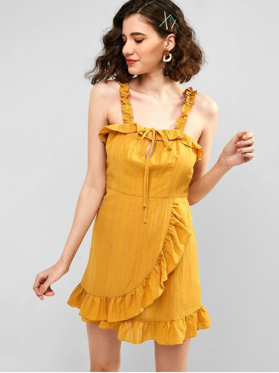 lady ZAFUL Tie Ruffle Sundress - BEE YELLOW L