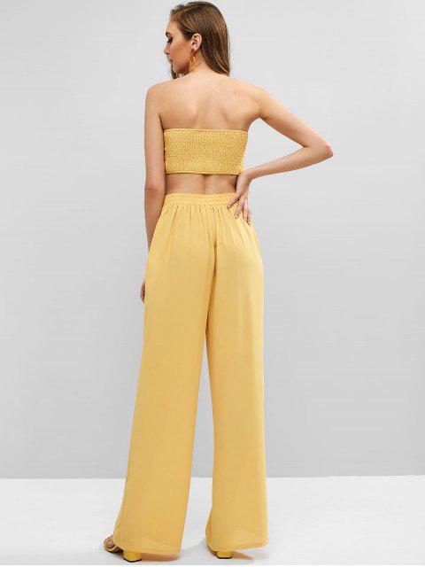 35 Off 2021 Qonew Conjunto Con Top Bandeau Anudado Y Pantalones Palazzo En Vara De Oro Qonew America Latina