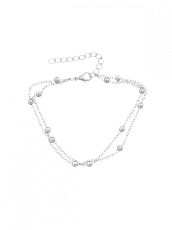 womens Layered Alloy Beads Anklet - SILVER