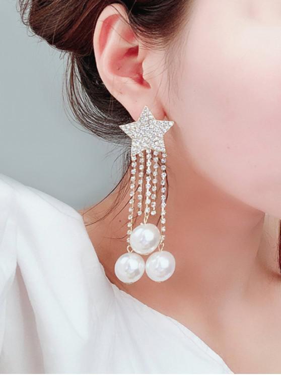 shop Star Fringe Faux Pearl Earrings - GOLD