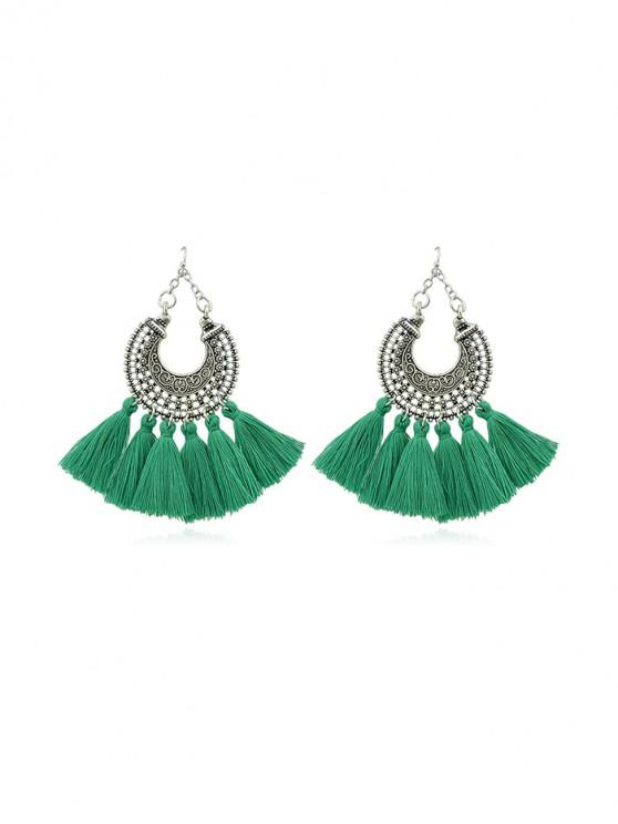 trendy Bohemia Style Tassel Dangle Earrings - GREEN