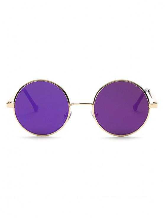 women Round Vintage Simple Style Resin Sunglasses - PURPLE FLOWER