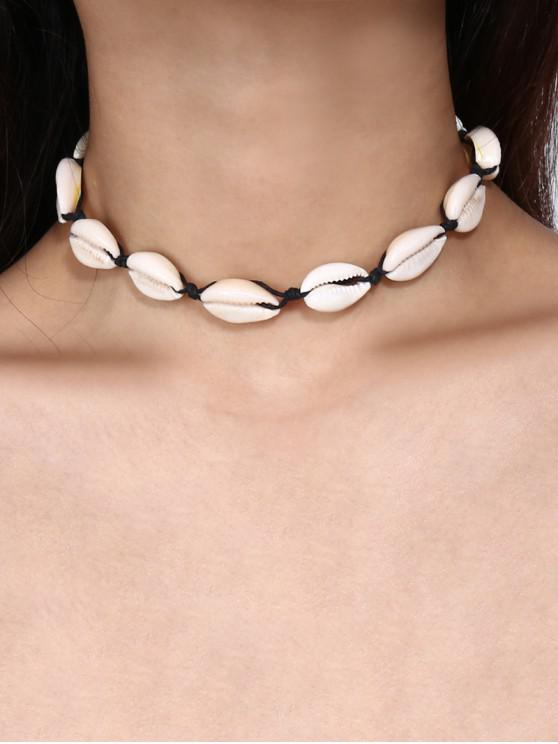 fancy Cowrie Shell Choker Necklace - BLACK
