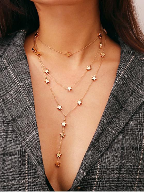 unique Multilayer Star Chain Necklace - GOLD