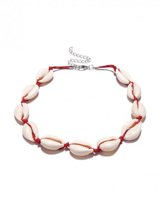 sale Cowrie Shell Choker Necklace - RED