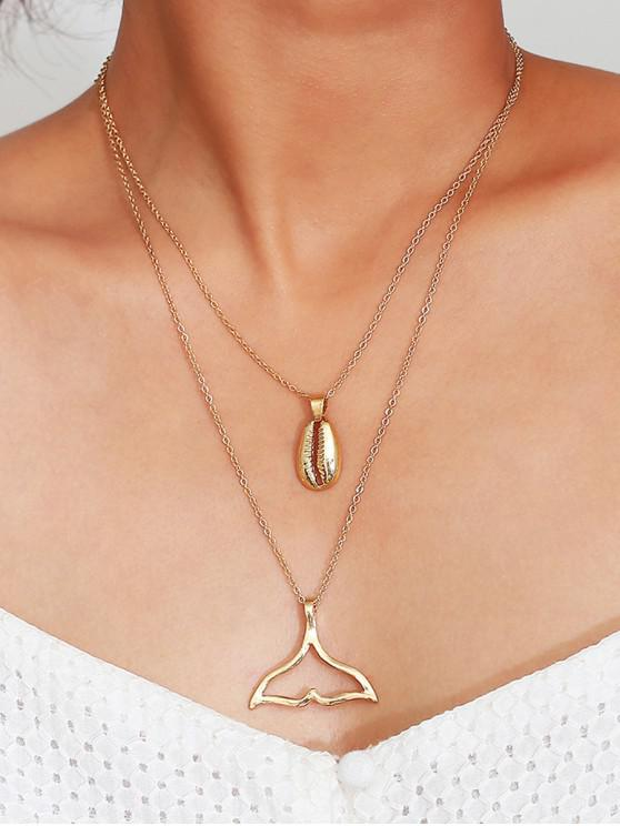 affordable Simple Shell Fishtail Layered Necklace - GOLD
