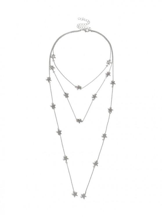 lady Multilayer Star Chain Necklace - SILVER