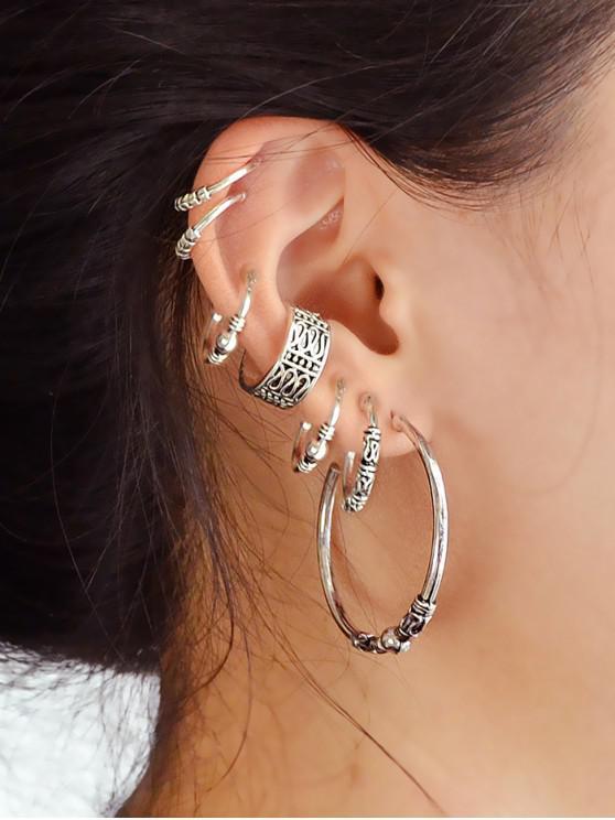 hot 7 Piece Retro Hoop Earrings Set - SILVER