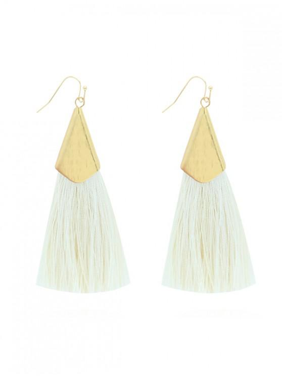 shop Long Threading Tassel Hook Earrings - WHITE