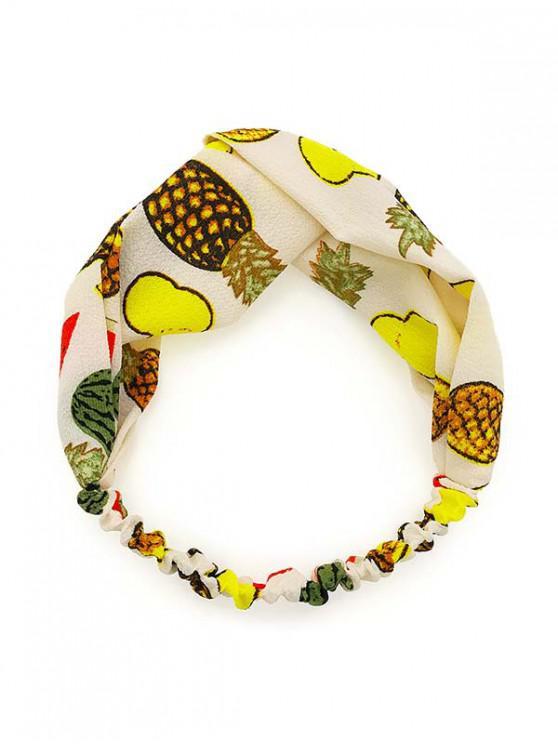 buy Elastic Cloth Fruit Print Headband - YELLOW