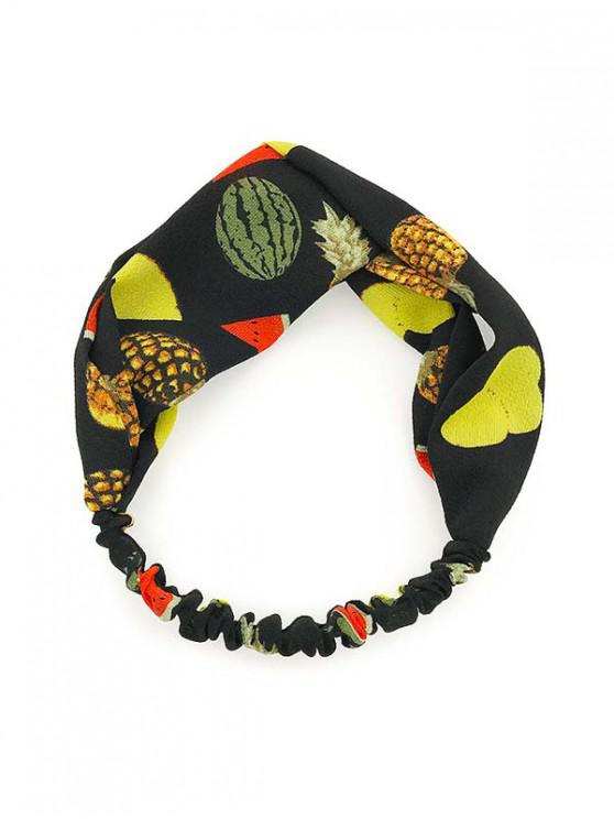 lady Elastic Cloth Fruit Print Headband - BLACK