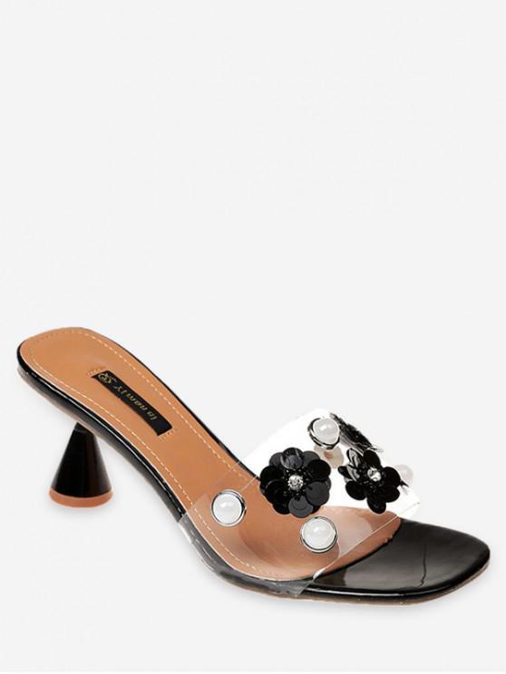 6b632ad66f8f2 39% OFF] 2019 Flower Faux Pearl Low Heel Slides In BLACK | ZAFUL