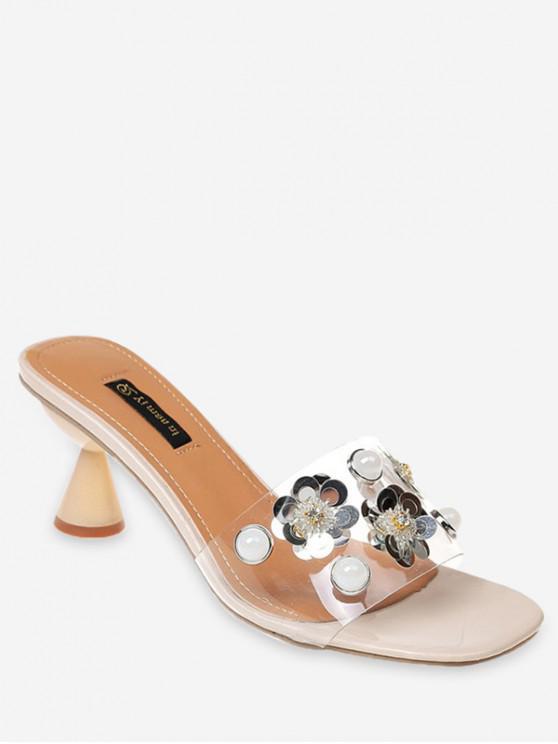 7c966140c082 37% OFF  2019 Flower Faux Pearl Low Heel Slides In BEIGE