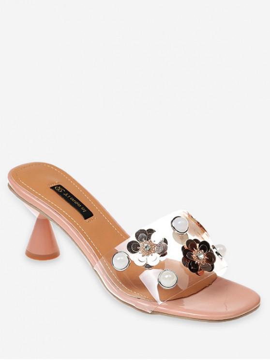 Flower Faux Pearl Low Heel Slides BEIGE BLACK LIGHT PINK