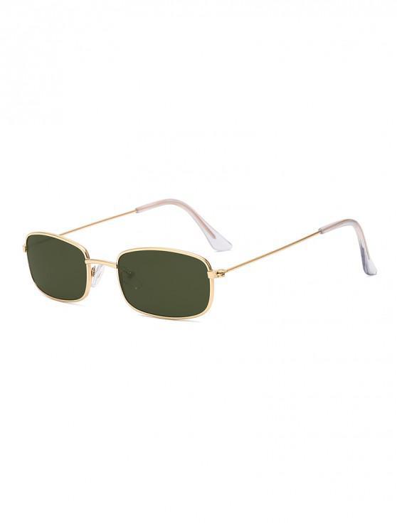 online Rectangle Frame Vintage Small Metal Frame Sunglasses - DARK GREEN