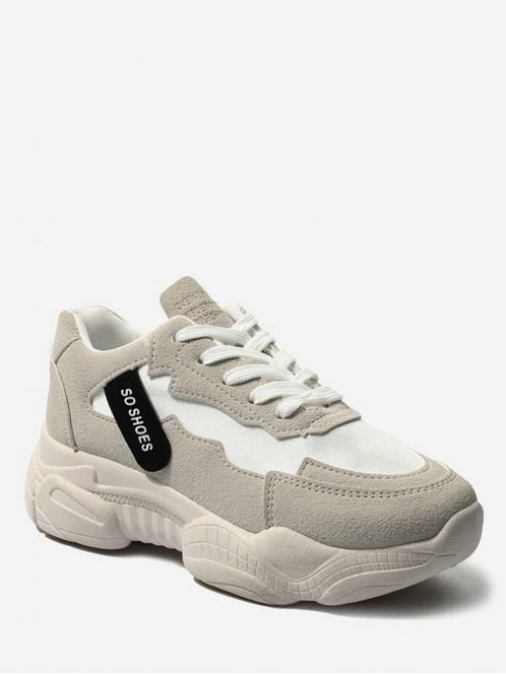 chic Round Toe Flat Platform Running Shoes - PLATINUM EU 37
