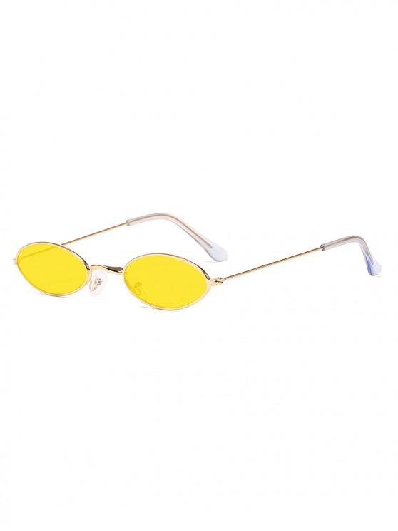 buy Small Retro Oval Polarized Sunglasses - GOLDENROD