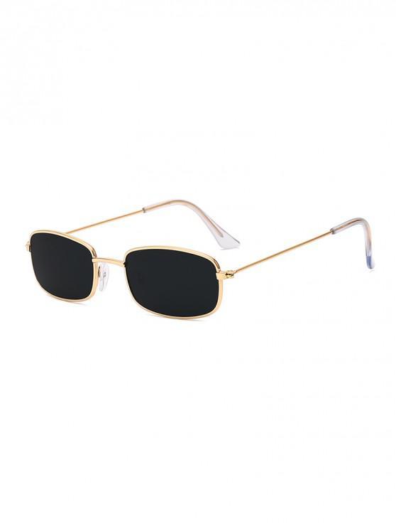 new Rectangle Frame Vintage Small Metal Frame Sunglasses - BLACK