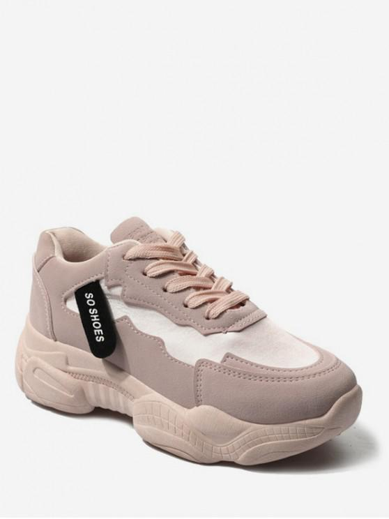 best Round Toe Flat Platform Running Shoes - LIGHT PINK EU 37