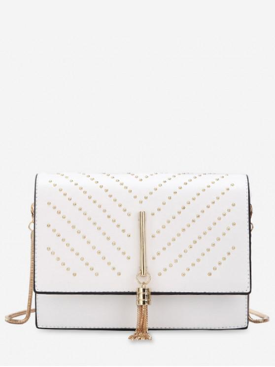 lady Rivet Embellished Flap Crossbody Bag - WHITE