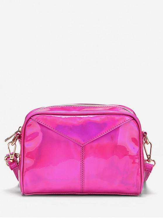 shops PU Leather Zipper Crossbody Bag - ROSE RED