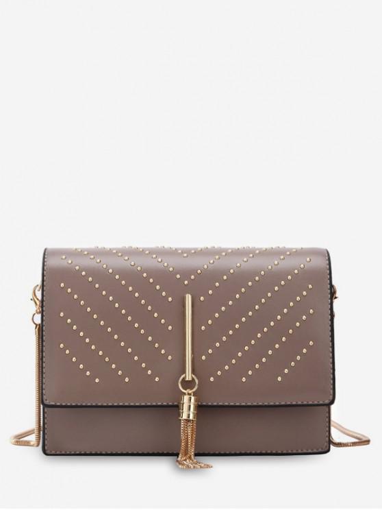 lady Rivet Embellished Flap Crossbody Bag - KHAKI ROSE