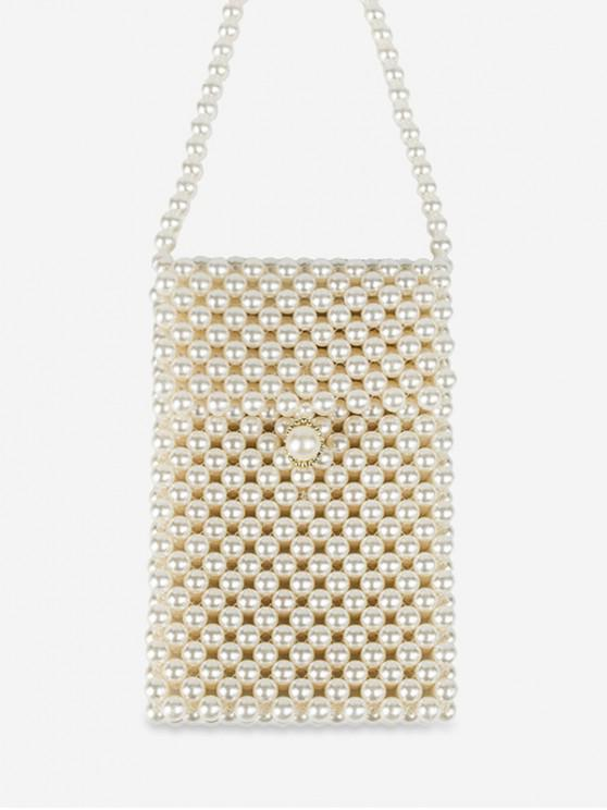 fancy Faux Pearl Flap Crossbody Bag - WARM WHITE