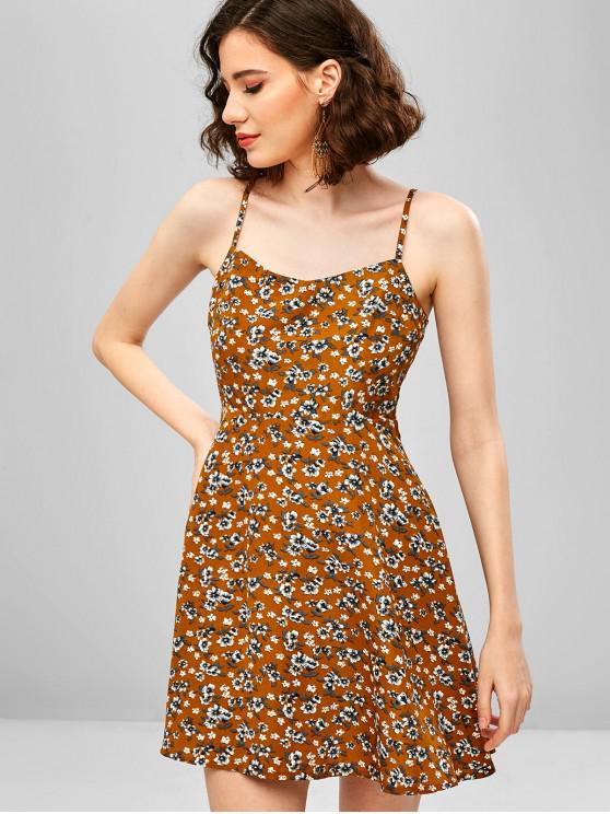 women's ZAFUL Floral Smocked Back Cami Mini Dress - BEE YELLOW M