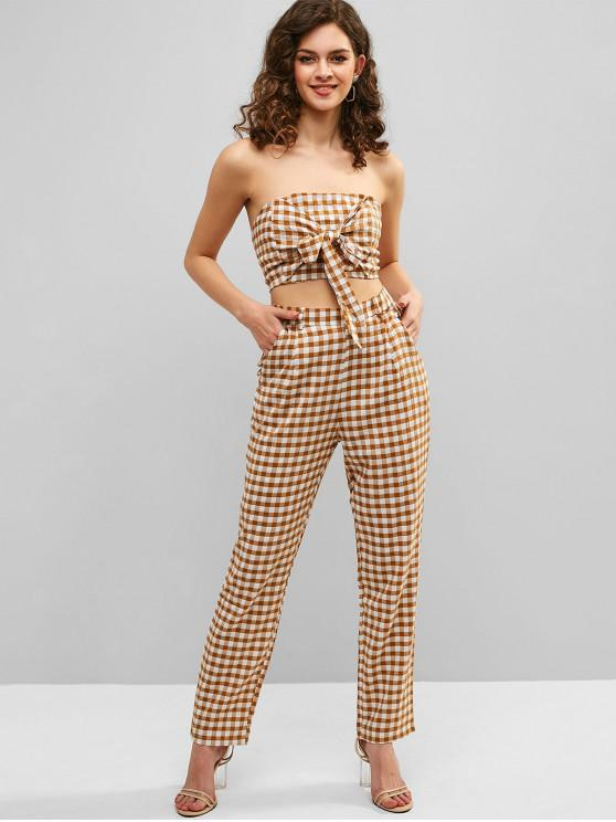 buy Gingham Knotted Top and Pants Set - CARAMEL L