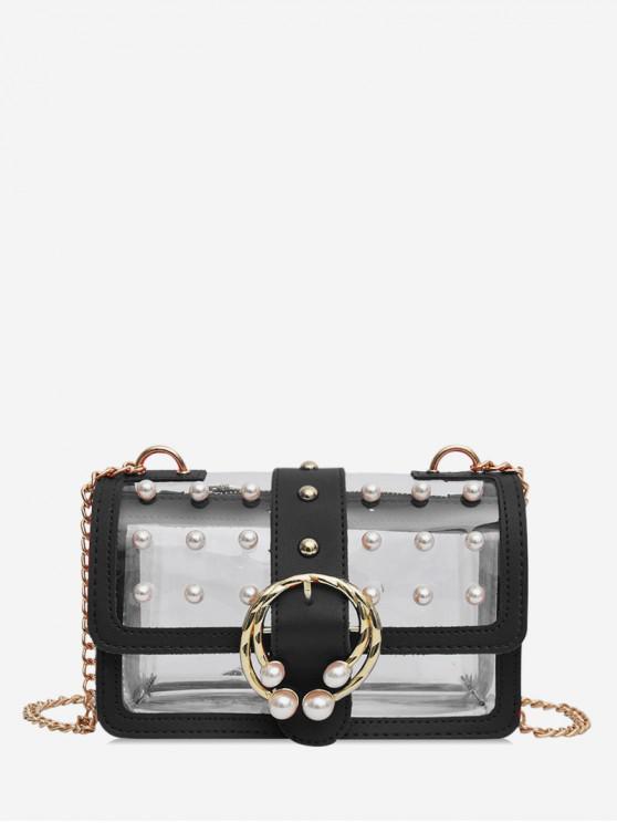 Bolsa de ombro de cadeia de Design de pérola transparente de verão - Preto