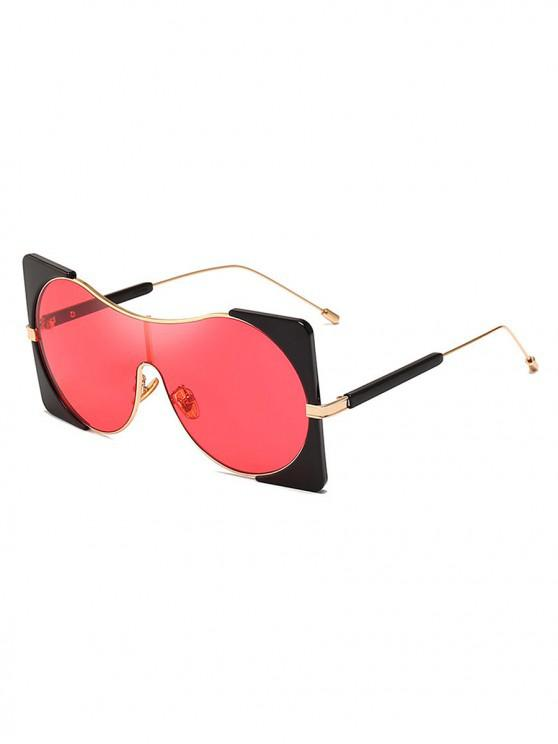 womens Round Lens Square Rim Polarized Sunglasses - RED