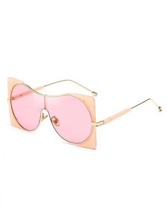 trendy Round Lens Square Rim Polarized Sunglasses - PIG PINK