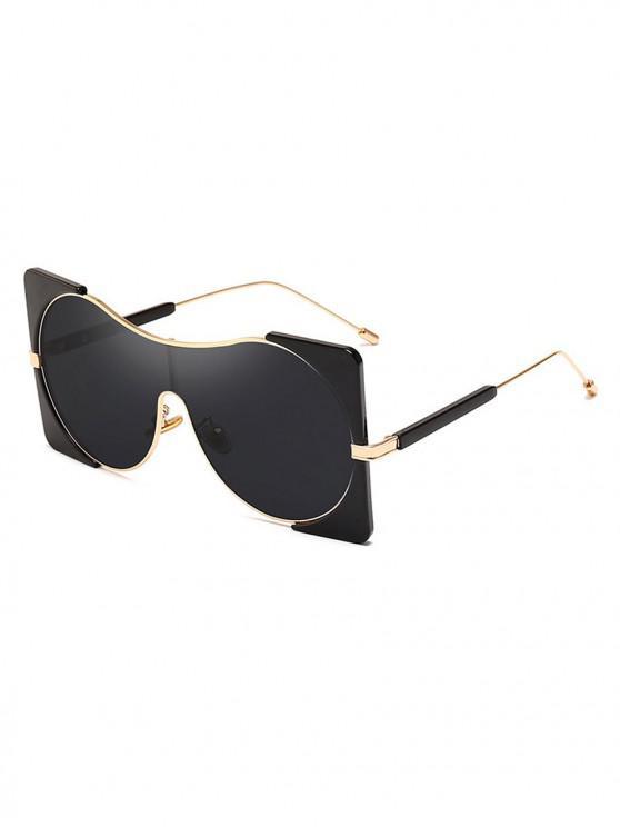 sale Round Lens Square Rim Polarized Sunglasses - BLACK