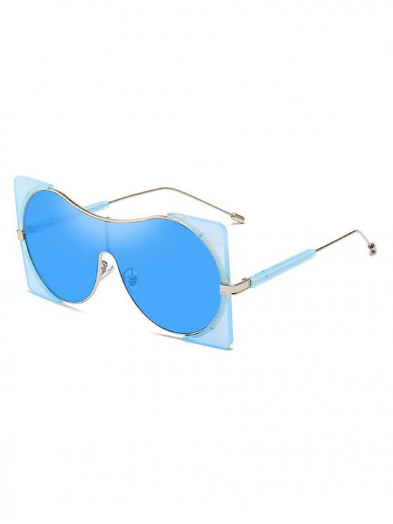 ladies Round Lens Square Rim Polarized Sunglasses - CRYSTAL BLUE