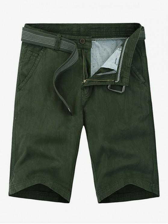 latest Applique Solid Color Denim Shorts - ARMY GREEN 34