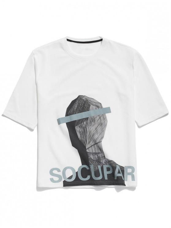 outfit Carved Stone Letters Print T-shirt - WHITE L