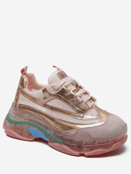 chic Color Matching Flat Platform Sneakers - PINK EU 39