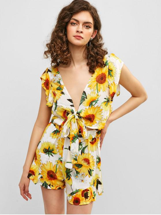 women Sunflower Print Knotted Top and Shorts Set - WHITE M