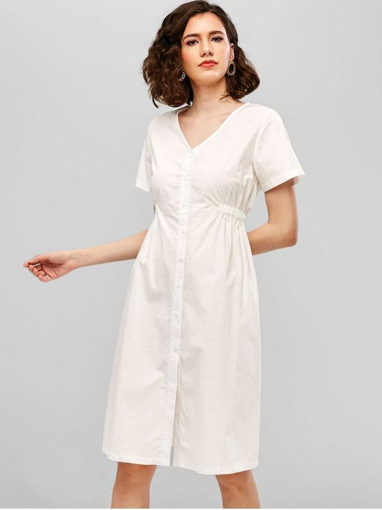 ZAFUL V Neck Button Up Casual Dress - Blanco S