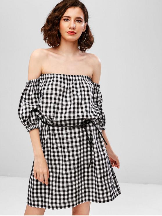 fancy Off Shoulder Plaid Mini Dress - BLACK L