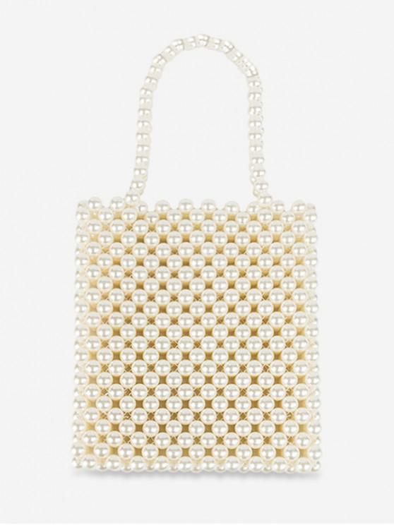 unique Vintage Pearls Knitted Square Tote - WARM WHITE