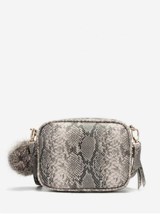 buy Fluffy Ball Snake Skin Pattern Shoulder Bag - LEOPARD