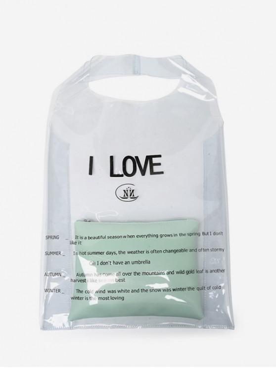 shop Transparent Plastic Character Pattern Bag Set - PALE BLUE LILY