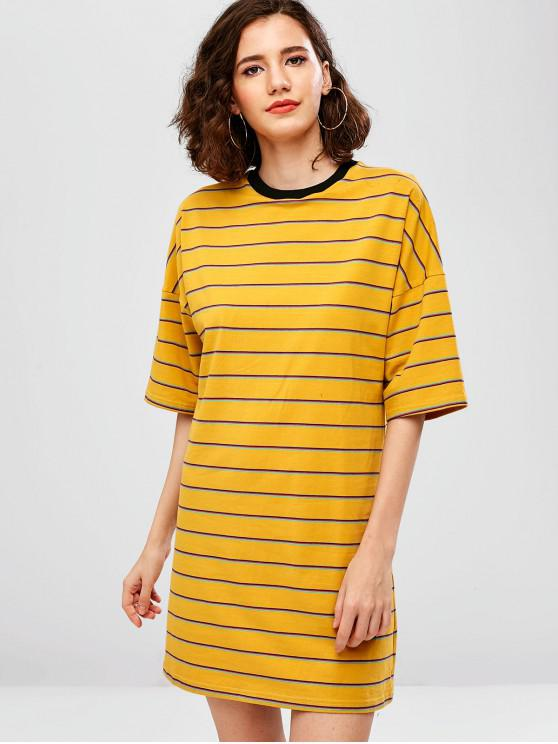 27440045ff0f3 35% OFF] 2019 ZAFUL Drop Shoulder Striped Shift Tee Dress In SUN ...