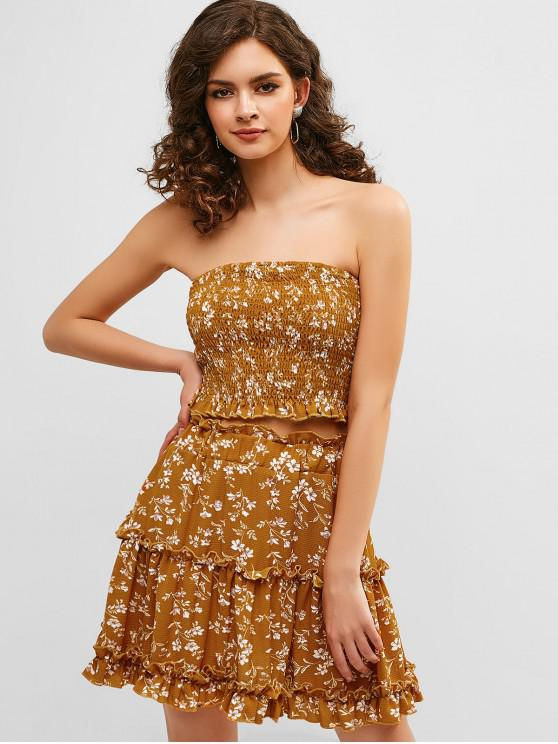 online Frilled Shirred Floral Two Piece Dress - BEE YELLOW S