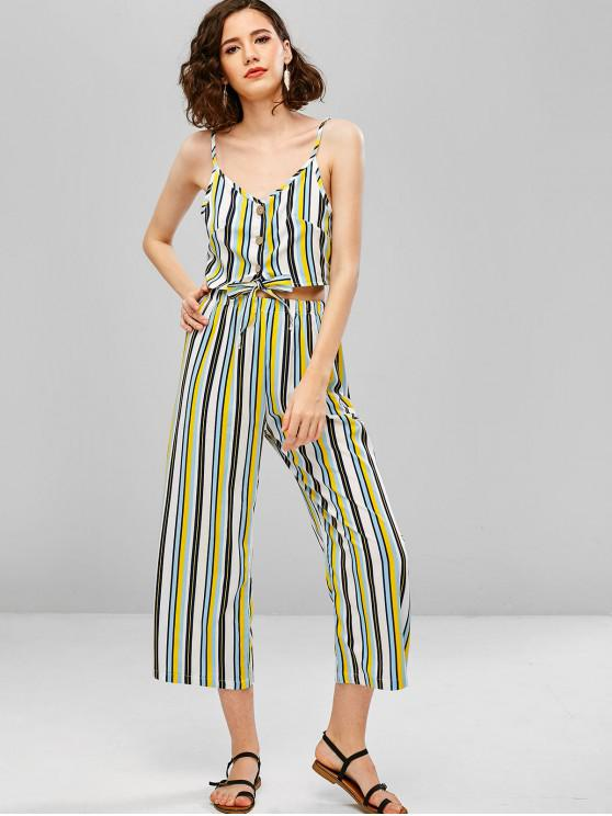 outfits Striped Buttoned Cami Top and Loose Pants Set - GOLDENROD XL