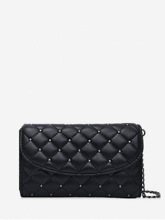 sale Crossbody Solid Grid Pattern Shoulder Bag - BLACK BIG SIZE